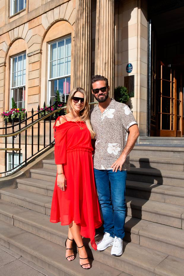 Vogue Williams and Spencer Matthews in Scotland at the relaunch of Dr Darren McKeown's clinic before their wedding. Picture: Diane Thompson at Cuture Foto