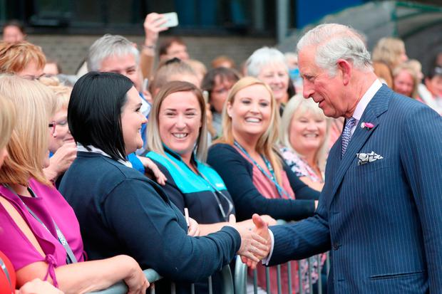 Britain's Prince Charles meets staff and students during his visit to Ulster University in Coleraine, Co Derry, to help celebrate its 50th anniversary. Photo: Niall Carson/PA Wire