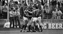 15 June 1988; Republic of Ireland's Ronnie Whelan, hidden, is congratulated by team-mates Kevin Sheedy, left, John Aldridge, centre, and Ray Houghton after scoring his side's first goal. European Championship Finals 1988, Republic of Ireland v Soviet Union. Niedersachen Stadium, Hanover, Germany. Picture credit: Ray McManus / SPORTSFILE