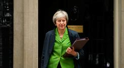 Prime Minister Theresa May leaves Downing Street, London, after a Cabinet meeting. Stefan Rousseau/PA Wire
