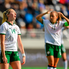 12 June 2018; Megan Connolly of Republic of Ireland reacts after seeing her shot saved during the FIFA 2019 Women's World Cup Qualifier match between Norway and Republic of Ireland at the SR-Bank Arena in Stavanger, Norway. Photo by Seb Daly/Sportsfile