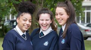 Ashley Abbedeen (17), Doireann Dullaghan (18) and Nicole Doherty (18) sat their Leaving Cert biology exam at Our Lady's College, Drogheda. Photo: Tony Gavin