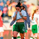 Sophie Perry-Campbell tries to hold back the tears after Ireland's defeat by Norway in Stavanger yesterday. Photo: Seb Daly/Sportsfile