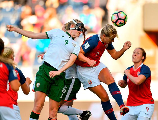 Louise Quinn of Republic of Ireland in action against Elise Thorsnes of Norway. Photo: Seb Daly/Sportsfile