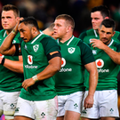 9 June 2018; Ireland players, from left, Peter O'Mahony, CJ Stander, Bundee Aki, Sean Cronin, James Ryan and Rob Kearney after the 2018 Mitsubishi Estate Ireland Series 1st Test match between Australia and Ireland at Suncorp Stadium, in Brisbane, Australia. Photo by Brendan Moran/Sportsfile