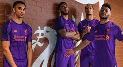 Liverpool's new away kit modelled by Trent Alexander-Arnold, Virgil van Dijk, Joe Gomez and Alex Oxlade-Chamberlain