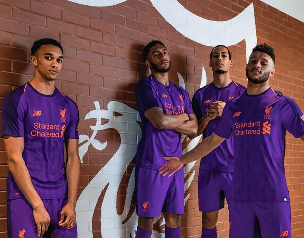 e9c7a2fd Liverpool's new away kit modelled by Trent Alexander-Arnold, Virgil van  Dijk, Joe