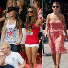 (L to R) Cheryl and Victoria Beckham, Coleen Rooney, Ashley Cole and Cheryl Tweedy, in 2006 at the World Cup in Germany