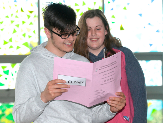 Aoife Mason and Vlad Moraru pictured after the History Leaving Cert exam at Kildare Town Community College Co.Kildare. Photo: Justin Farrelly.