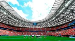 Russian players go through their paces in Luzhniki Stadium ahead of today's opening match against Saudia Arabia there. Photo: Dan Mullan/Getty Images