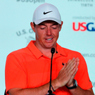 Rory McIlroy in pensive mood during his press conference at Shinnecock Hills yesterday. Photo: Getty Images