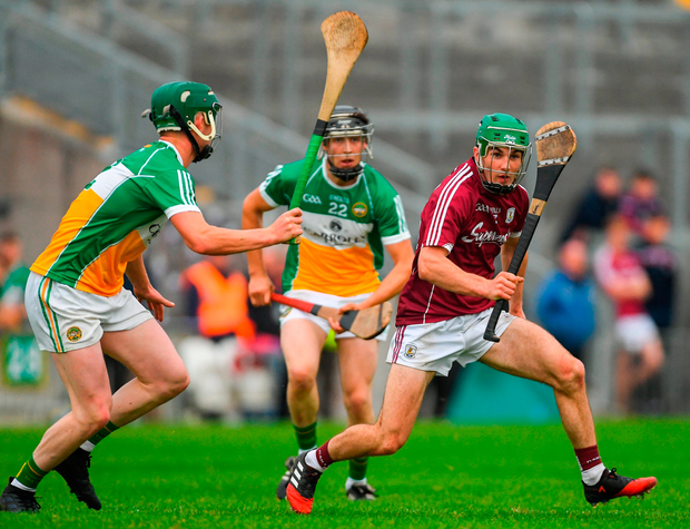 Galway's Evan Niland in action against Michael Gilligan (left) and Joe Maher at Bord Na Móna O'Connor Park. Photo: Sportsfile