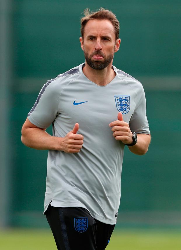 ENGLAND EXPECTS: Gareth Southgate oversees training with his team fully expected to qualify from Group G along with Belgium. Photo: Reuters