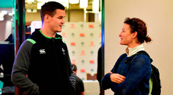 Jonathan Sexton, left, meets Irish Olympic and World Champion athlete Sonia O'Sullivan after an Ireland rugby press conference in Melbourne, Australia. Photo: Sportsfile