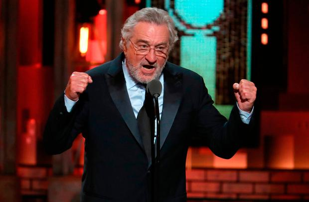 Oscar-winner Robert De Niro launches his attack at the Tonys. Photo: Michael Zorn/Invision/AP