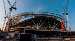 File photo dated 14-05-2018 of a general view of the ongoing contruction of Tottenham Hotspur's new White Hart Lane stadium in London. Steven Paston/PA Wire.