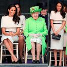Meghan Markle with Britain's Queen Elizabeth in Cheshire, England