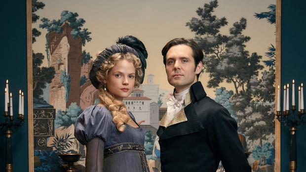 Gabriella Wilde as Caroline and Luke Norris as Dwight Enys in Poldark (BBC/Mammoth Screen)
