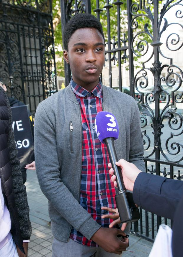 Nonso Muojeke from Tullamore following a meeting with Minister for Justice Charlie Flanagan