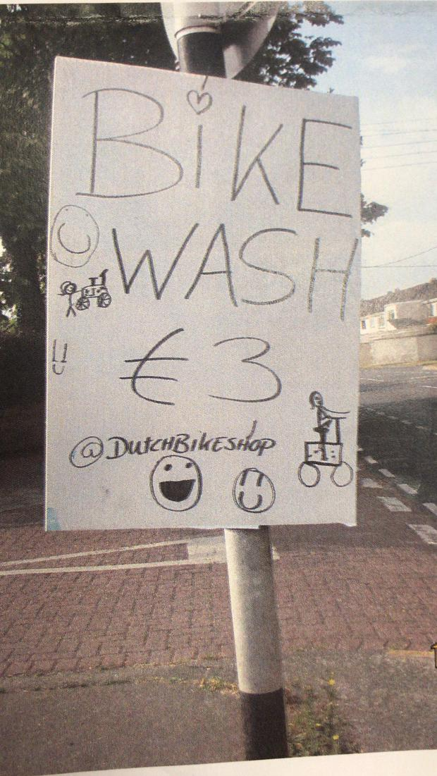 The Dutch Bike Shop received a €150 fine for the poster. Photo: Astrid Fitzpatrick.