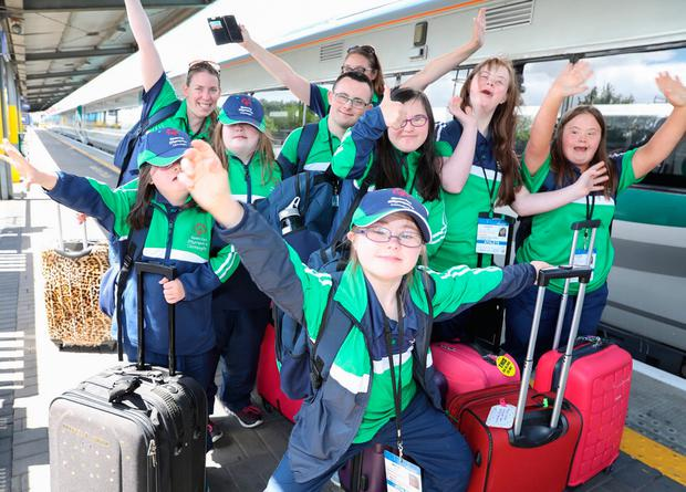 Competitors and coaches from Connacht at Heuston Station before heading to Tallaght Stadium for the Special Olympics Ireland, which take place until Sunday. Photo: Paul Sharp/Sharpix