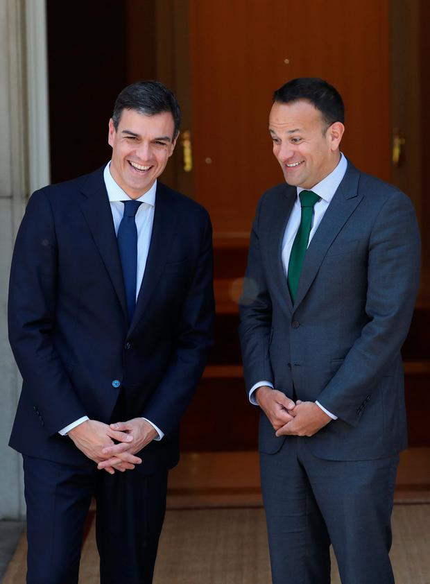 Taoiseach Leo Varadkar and Spain's Prime Minister Pedro Sanchez enjoy a light-hearted moment at the Moncloa Palace in Madrid yesterday. Picture: Reuters