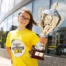 Charlotte Stevens, from Primrose Hill National School, Celbridge, was crowned champion speller in the 2018 Eason Spelling Bee All-Ireland final which took place in The Helix in Dublin. Picture: Harnett