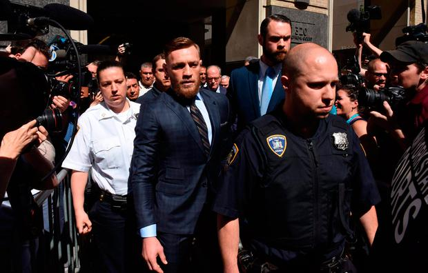 Conor McGregor leaving Brooklyn Supreme Court. Photos: Getty Images