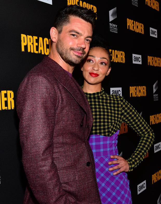 Dominic Cooper (L) and Ruth Negga arrive at the premiere of AMC's