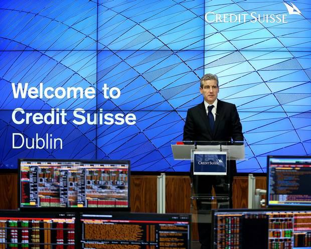 Tm O'Hara, CEO of Global Markets, Credit Suisse, at the official opening of the trading floor in Dublin. Photo: Conor McCabe