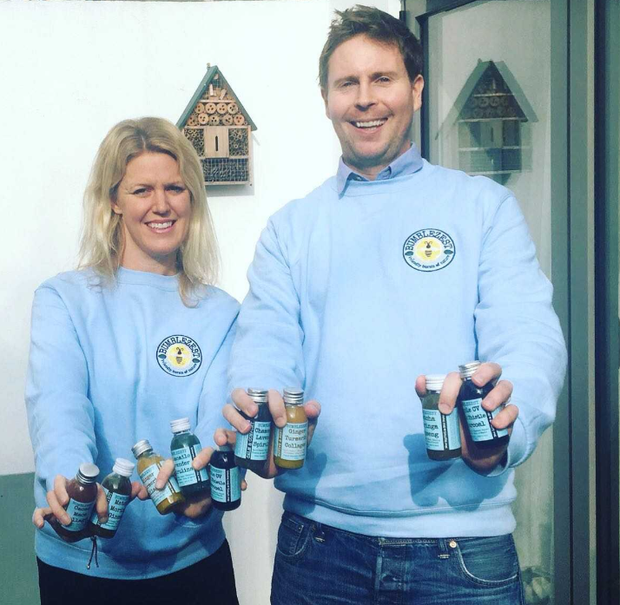 Husband and wife team Dan and Emily Watson who make the Bumblezest shot drinks.