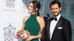 Prince Carl Phillip of Sweden and Princess Sofia of Sweden attend the 2018 Polar Music Prize award ceremony at the Grand Hotel on June 14, 2018 in Stockholm, Sweden. (Photo by MICHAEL CAMPANELLA/Getty Images)