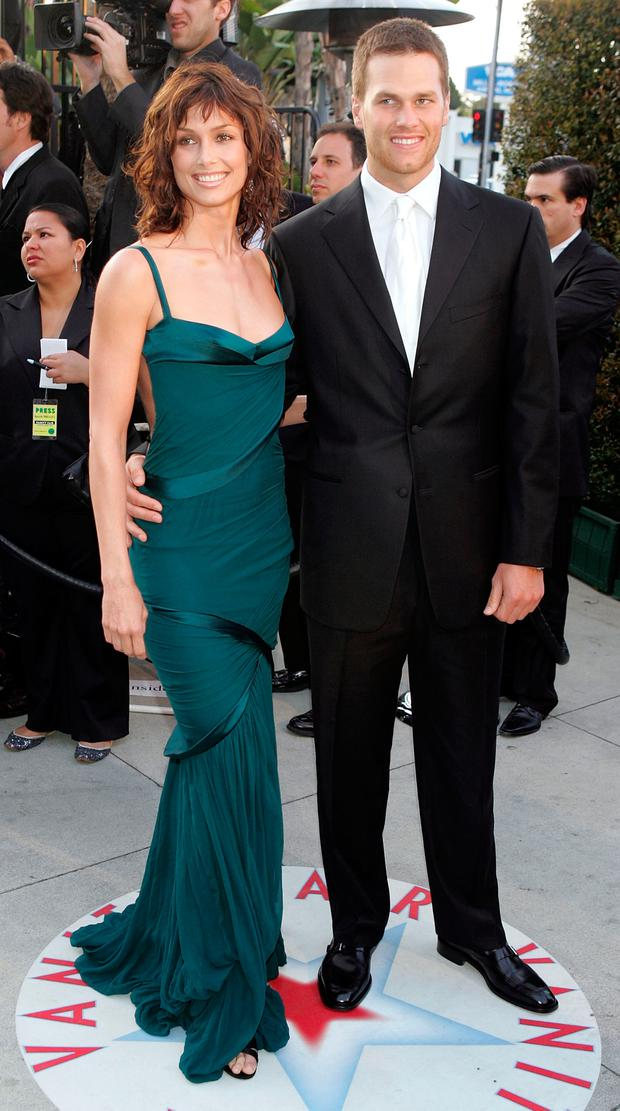 Bridget Moynahan and quarterback Tom Brady arrives at the Vanity Fair Oscar Party at Mortons on February 27, 2005 in West Hollywood, California. (Photo by Frazer Harrison/Getty Images)