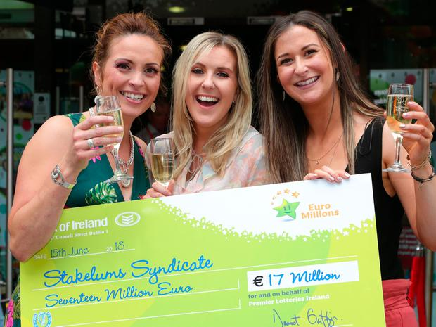 Euromillions winning Syndicate members, from left, Alicia Fanning, Laura StakeluM and Nicola Sammon from Stakelum's Hardware pictured at Lotto HQ , Abbey Street, Dublin. Photo: Colin Keegan, Collins Dublin.