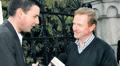 Political adviser and former Newstalk presenter Chris Donoghue interviewing former Taoiseach Enda Kenny