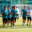 Germany's players go through their warm up in Moscow ahead of their opening game of the World Cup against Mexico tomorrow Photo: Reuters