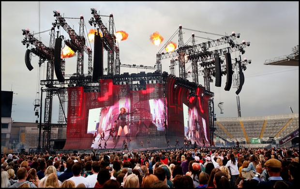 Taylor Swift on stage during her Reputation Tour at Croke Park. Pic Steve Humphreys