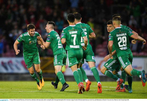 Gearóid Morrissey of Cork City celebrates with team-mates after scoring his side's first goal during the SSE Airtricity League Premier Division match between Cork City and Bohemians at Turner's Cross in Cork. Photo by Eóin Noonan/Sportsfile