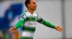 Graham Burke of Shamrock Rovers celebrates after scoring his side's second goal during the SSE Airtricity League Premier Division match between Limerick and Shamrock Rovers at Market's Field, Limerick. Photo by Tom Beary/Sportsfile