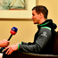 Taking time out earlier this week to interview Ireland out-half Johnny Sexton after training Photo: Brendan Moran/Sportsfile
