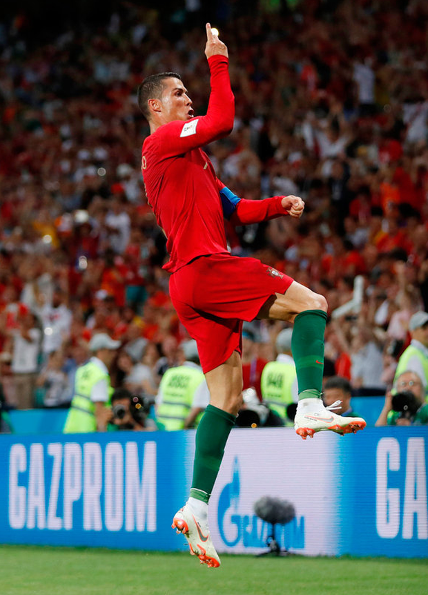 Portugal's Cristiano Ronaldo celebrates scoring their third goal to complete his hat-trick REUTERS/Carlos Barria