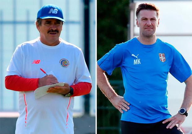 Head-to-head: Costa Rica's coach Oscar Ramirez (L) and Serbia's head coach Mladen Krstajic Photo: Getty Images