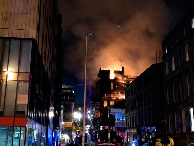 Photo showing the scene in Glasgow after a fire at the Mackintosh building. Credit: Douglas Barrie/PA Wire