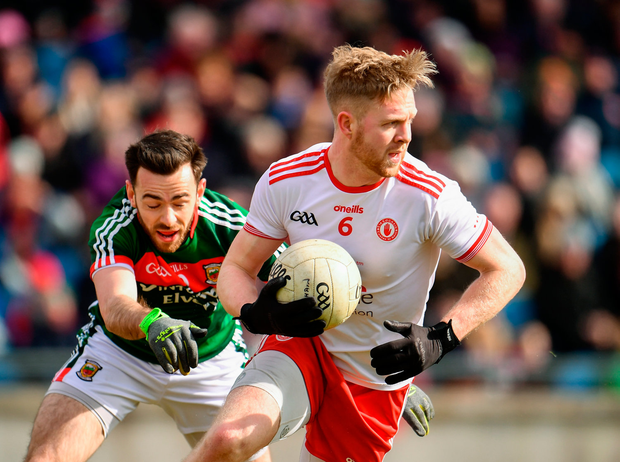 18 March 2018; Frank Burns of Tyrone in action against Kevin McLoughlin of Mayo during the Allianz Football League Division 1 Round 6 match between Mayo and Tyrone at Elverys MacHale Park in Castlebar, Co. Mayo. Photo by Sam Barnes/Sportsfile