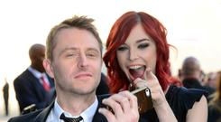 CULVER CITY, CA - JUNE 07: TV personality Chris Hardwick (L) and actress Chloe Dykstra attend Spike TV's