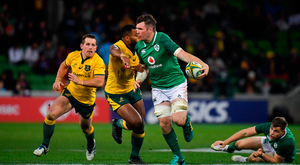 16 June 2018; Peter OMahony of Ireland is tackled by Marika Koroibete of Australia during the 2018 Mitsubishi Estate Ireland Series 2nd Test match between Australia and Ireland at AAMI Park, in Melbourne, Australia. Photo by Brendan Moran/Sportsfile