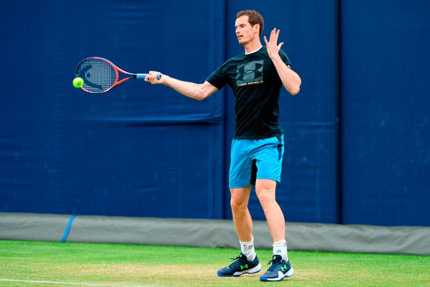 LONDON, ENGLAND - JUNE 16: Andy Murray of Great Britain hits a forehand in practice during qualifying day one of the Fever-Tree Championships at Queens Club on June 16, 2018 in London, United Kingdom. (Photo by Patrik Lundin/Getty Images for LTA)