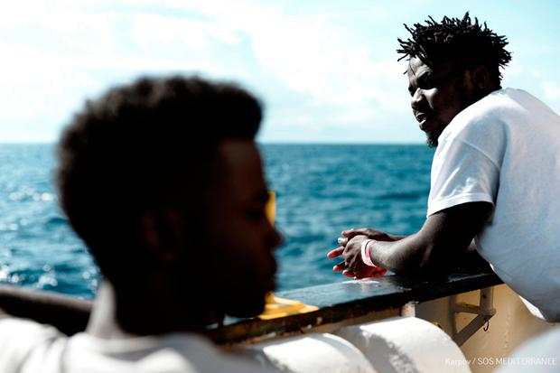 Migrants onboard the MV Aquarius at sea. Photo: AFP PHOTO / MEDECINS SANS FRONTIERES
