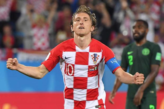 Croatia's midfielder Luka Modric celebrates scoring a penalty during the Russia 2018 World Cup Group D football match between Croatia and Nigeria at the Kaliningrad Stadium in Kaliningrad on June 16, 2018. (Photo by Patrick HERTZOG / AFP)