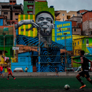 A mural in Sao Paulo, Brazil of Gabriel Jesus. Photo: Victor Moriyama/Getty Images